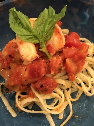 Shrimp With Linguini, Basil, and Parmesan